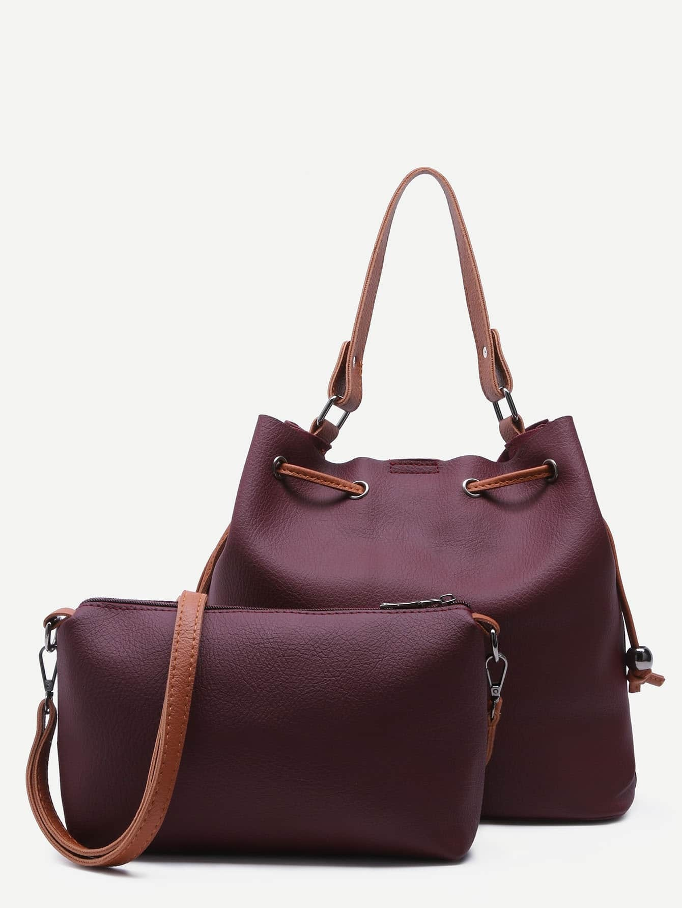 Burgundy PU Drawstring Tote Bucket Bag With Crossbody Bag
