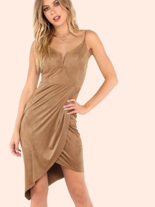 Suede V Cupped Asymmetrical Dress CAMEL