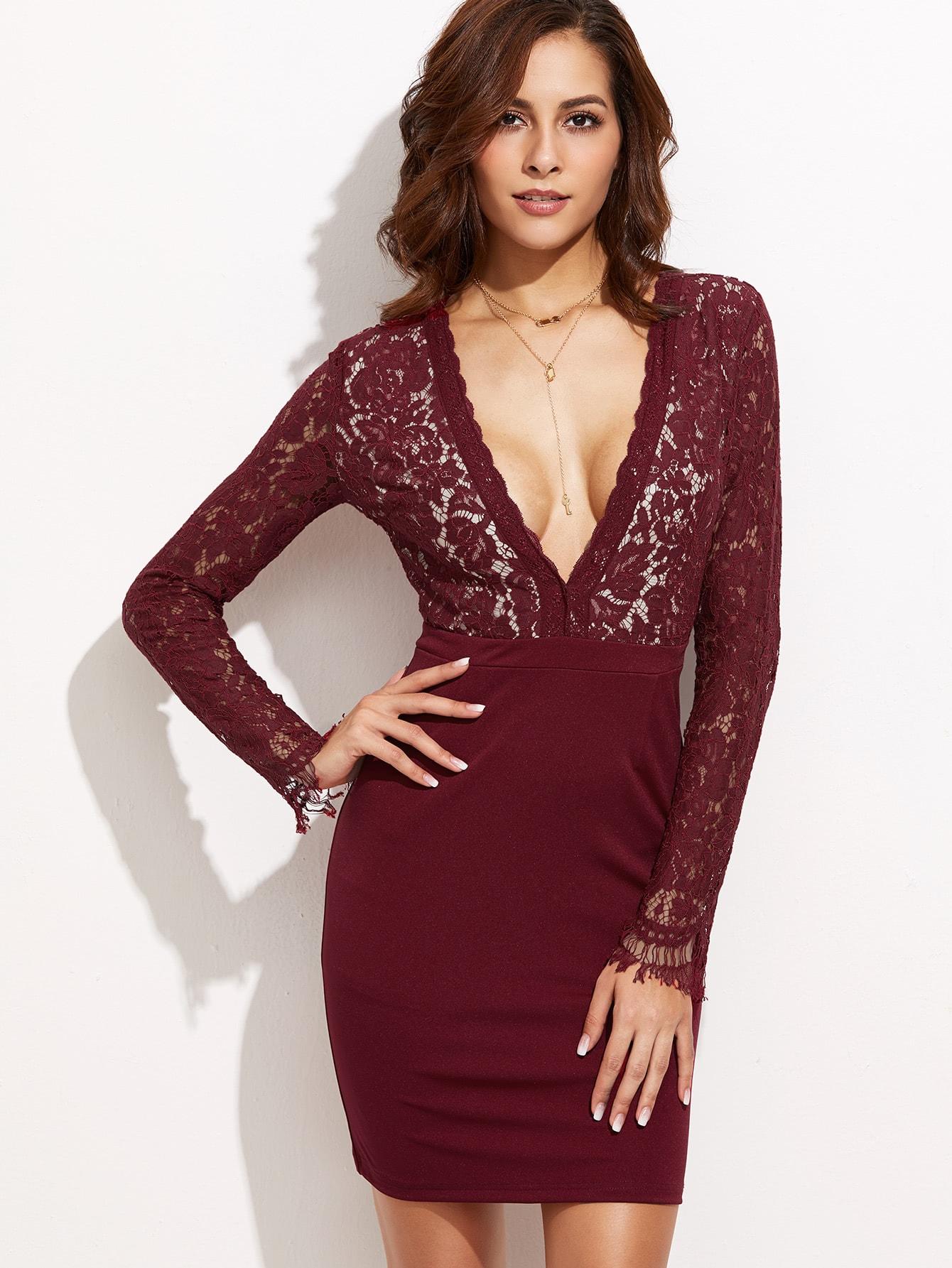 Burgundy Deep V Neck Lace Top Combo Dress