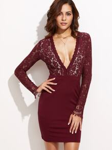 Burgundy Deep V Neck Lace Top Combo Dress