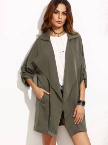 Olive Green Oversized Collar Roll Tab Sleeve Duster Coat