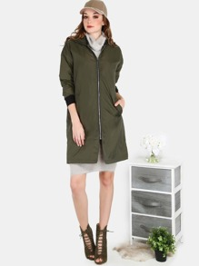 Lightweight Longline Detachable Hoodie Bomber Jacket OLIVE