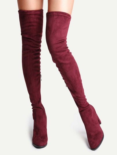 Burgundy Faux Suede Point Toe Tie Back Knee Boots