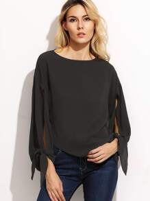 Black Split Tie Sleeve Asymmetric Top
