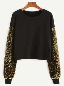 Black Drop Shoulder Embroidered Sequin Sleeve Sweatshirt