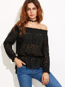 Black Off The Shoulder Lace Peplum Top