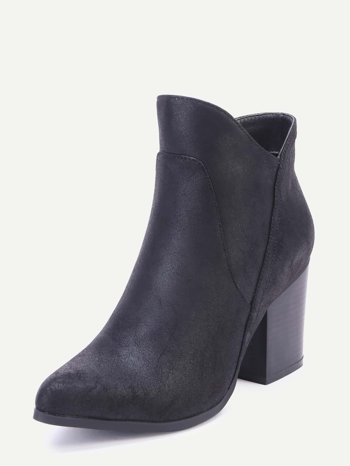 black toe faux leather chunky heel boots shein