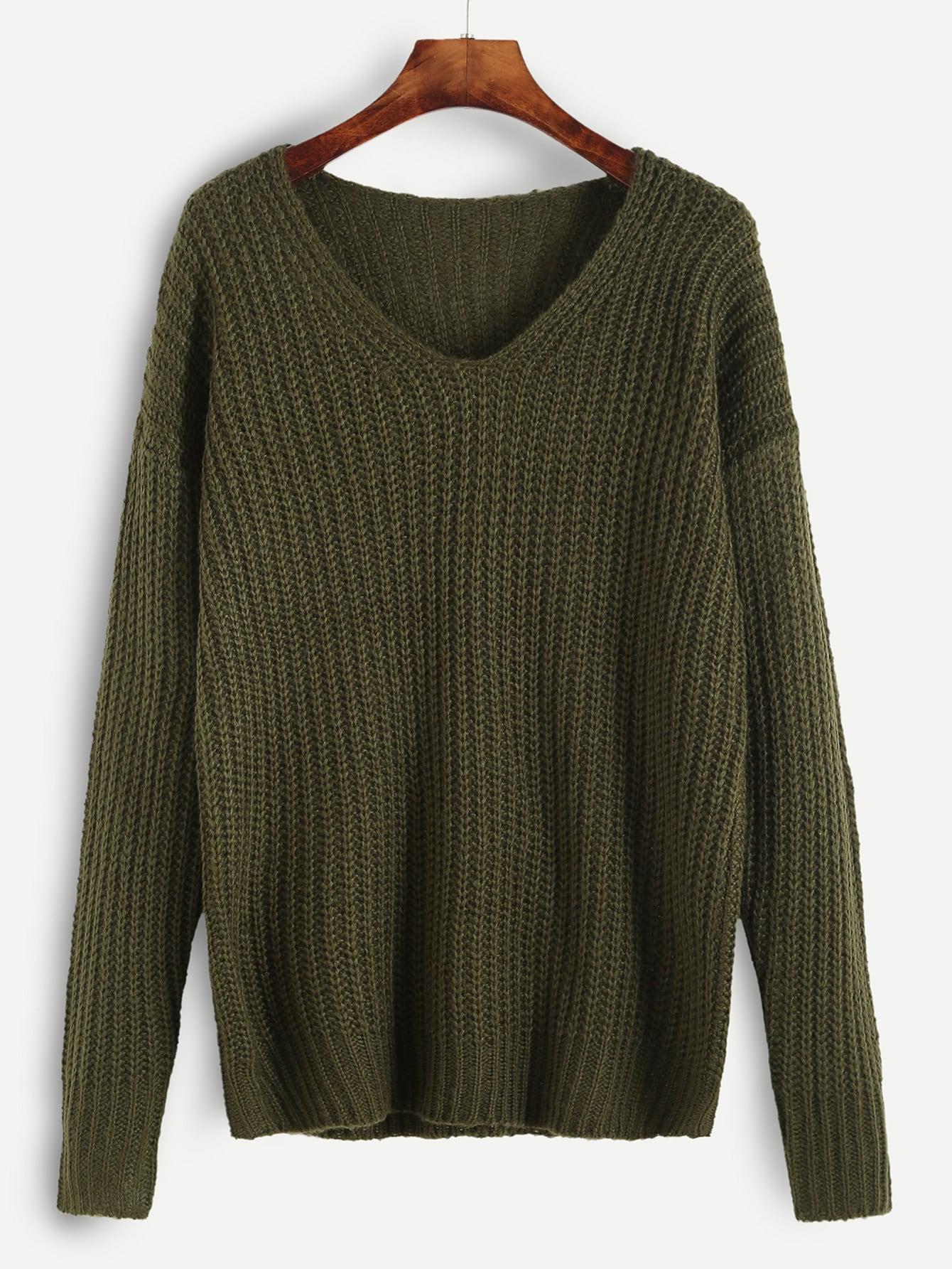 Olive Green Ribbed Knit Drop Shoulder Sweater