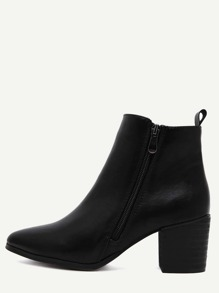 Black PU Side Zipper Cork Heel Chunky Boots