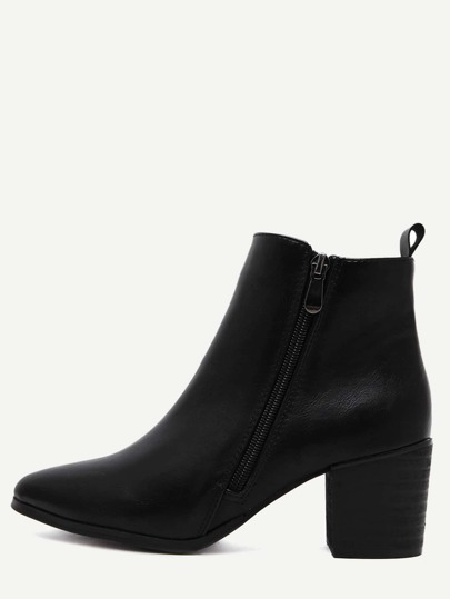 Black PU Side Zipper Cork Heel Chunky Boots