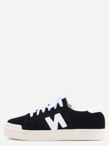 Black Suede Leather N Patch Lace Up Low Top Sneakers