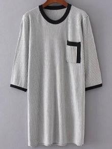 Grey Striped Pocket Sweater Dress