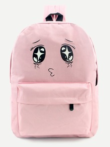 Pink Cartoon Print Front Zipper Nylon Backpack