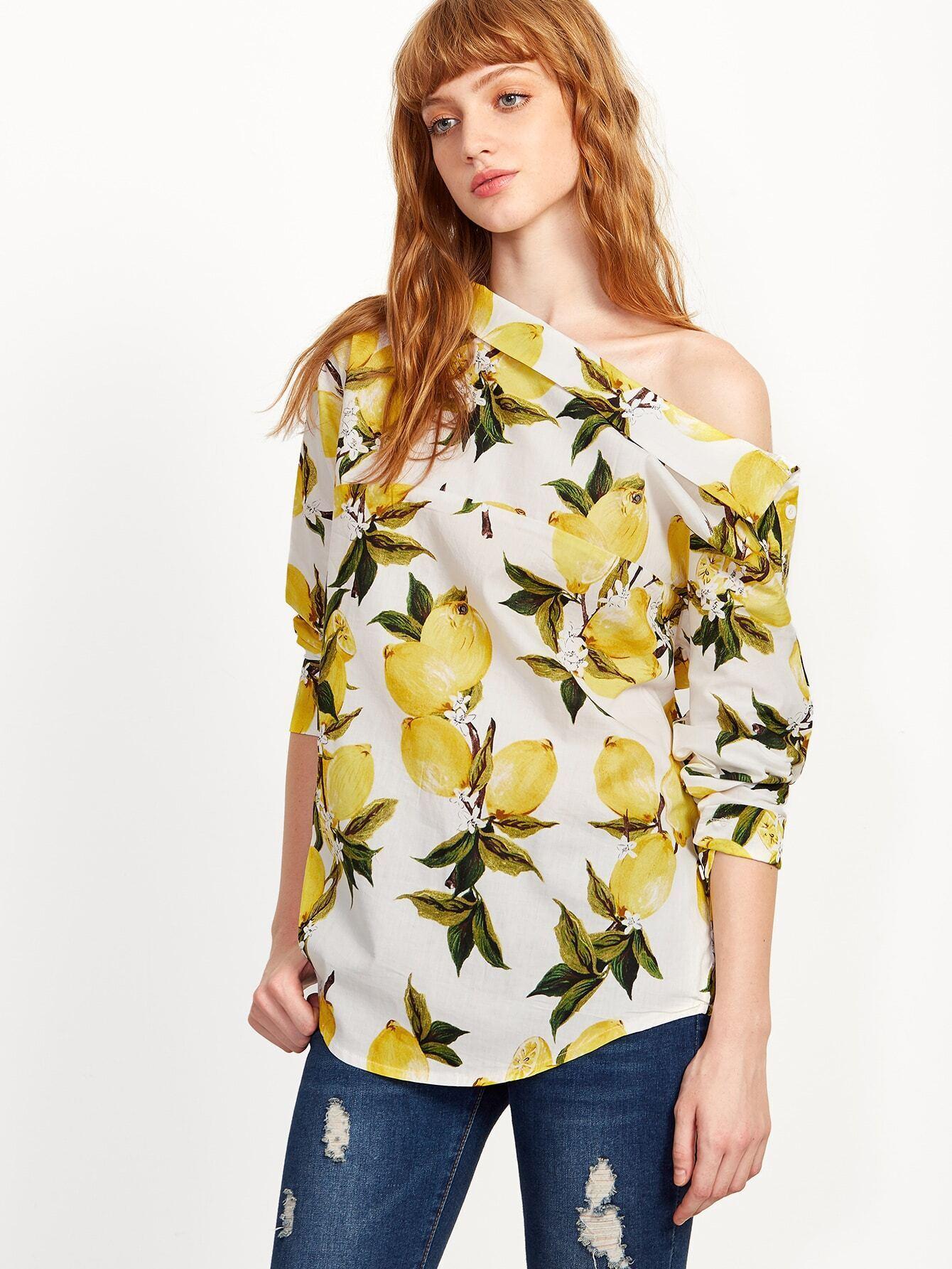 Lemon Print One Shoulder Button Top blouse160907103