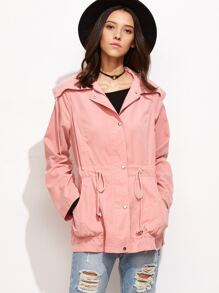 Wide Collar Drawstring Utility Jacket