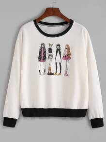 Contrast Trim Girls Print Sweatshirt