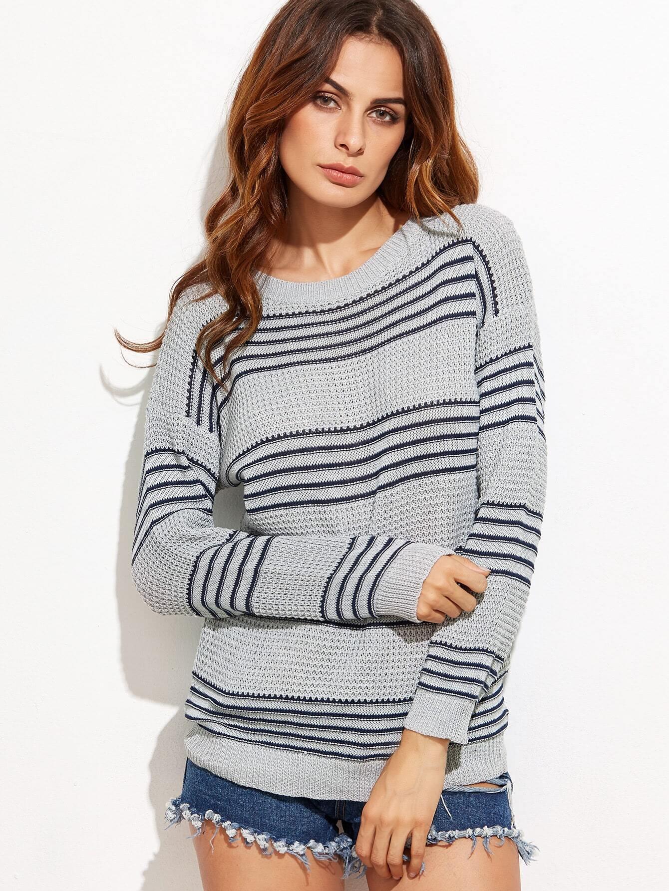 Grey Striped Drop Shoulder Seam Sweater sweater160914458