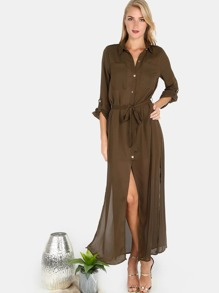Collared Button Down Belted Maxi Dress OLIVE