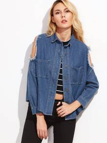 Blue Open Shoulder Frayed Denim Coat