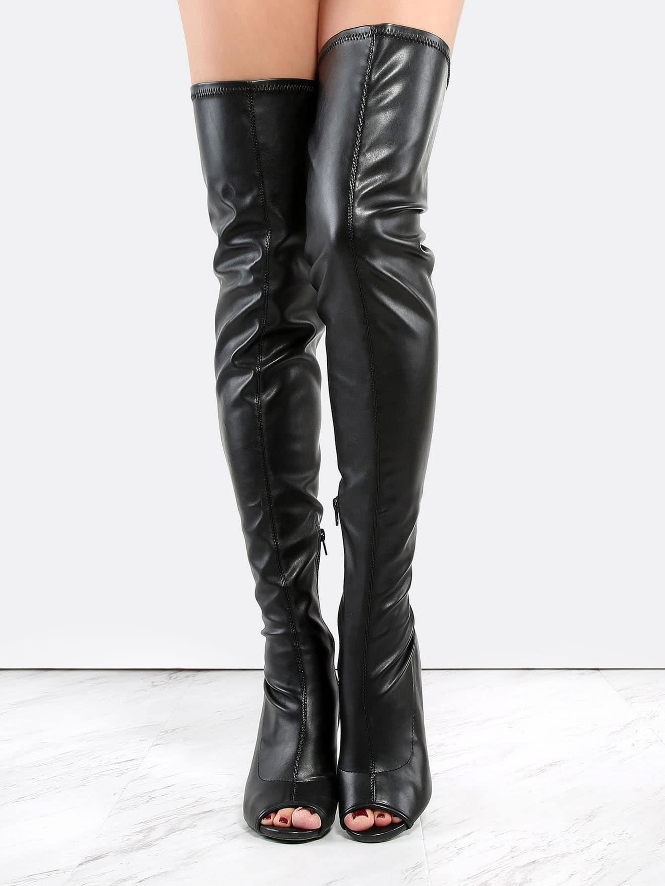113695e6768 Peep Toe Leather Stiletto Thigh Boots BLACK