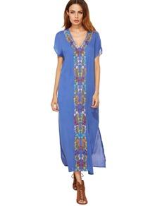 Blue Placement Print Split Side Maxi Dress