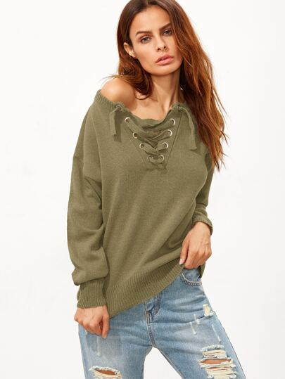 Army Green Lace Up Drop Shoulder Sweater