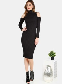 Cold Shoulder Sleeved Turtleneck Midi Dress BLACK