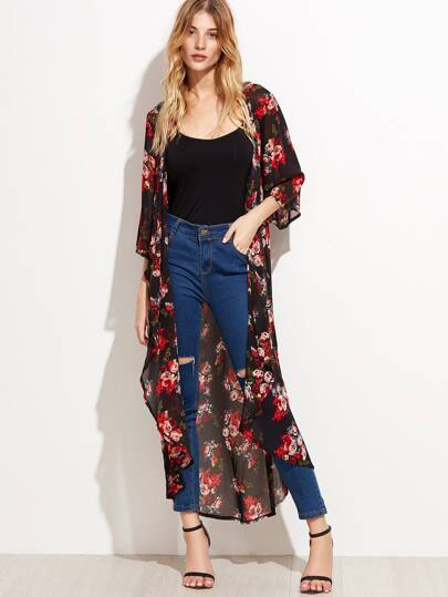 Floral Longline Chiffon Kimono