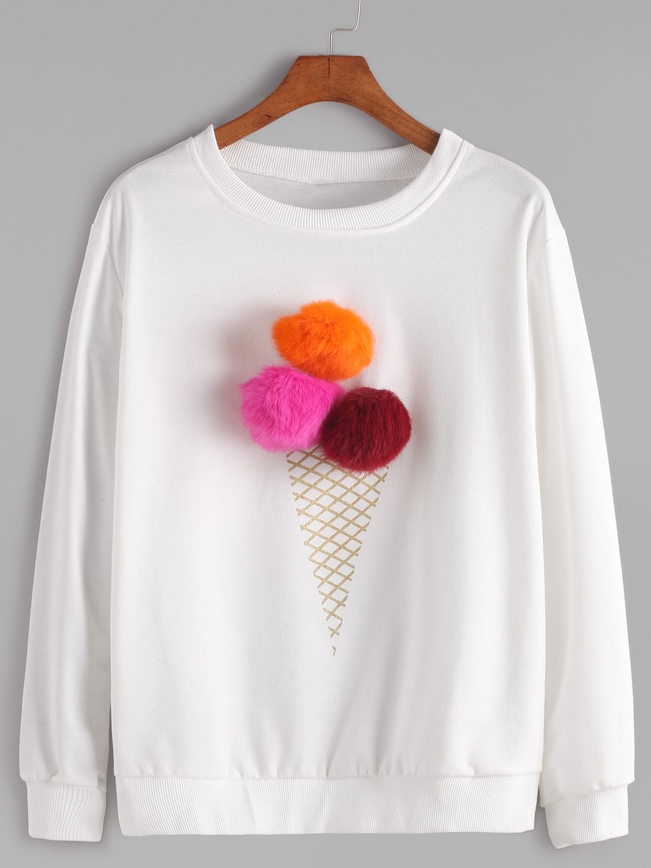 Buy White Round Neck Pom Sweatshirt