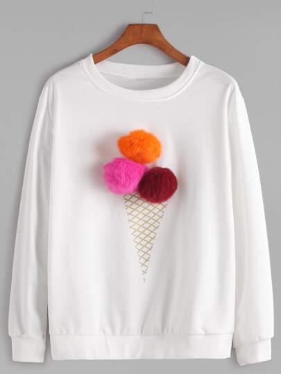 Pom Pom Detail Sweatshirt