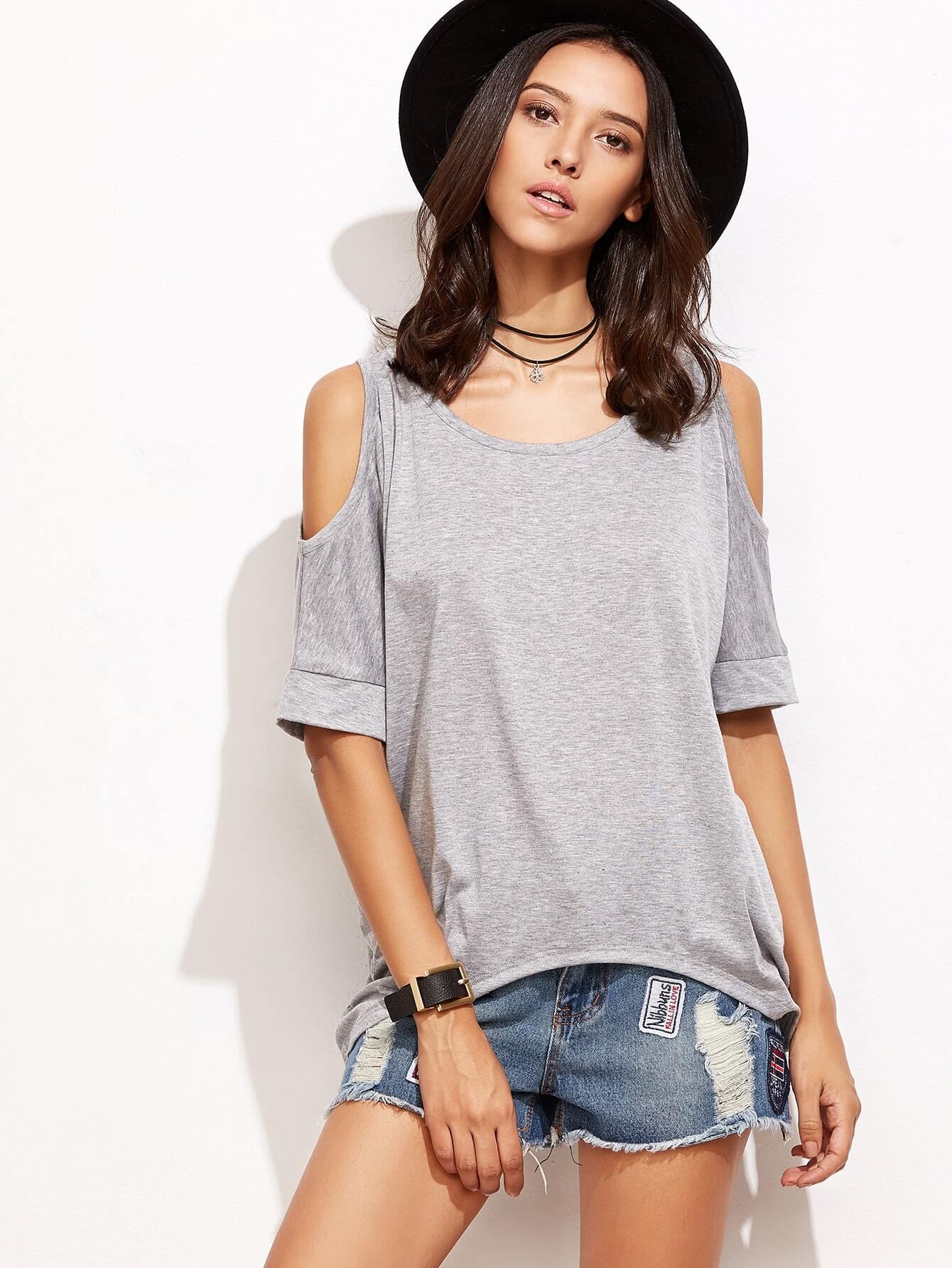Фото Open Shoulder Dip Hem T-shirt. Купить с доставкой