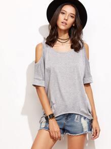 Open Shoulder Dip Hem T-shirt