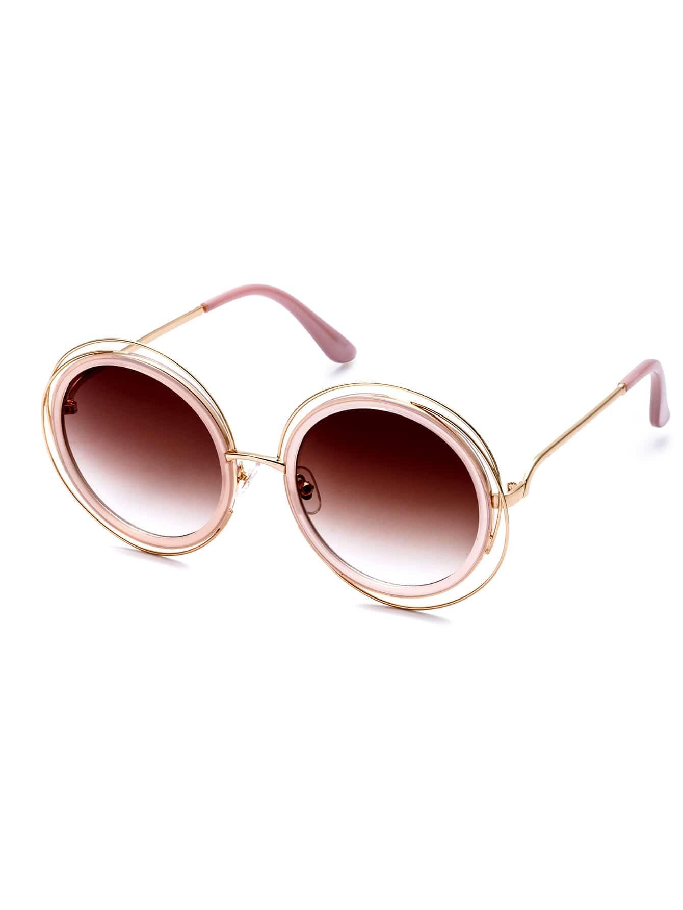 Pink Frame Round Lens Sunglasses