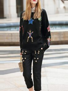 Black Knit Sweater Sequined Top With Pants