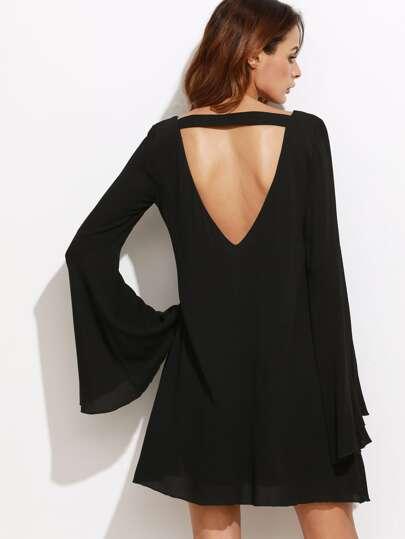 Open Back Bell Sleeve Dress