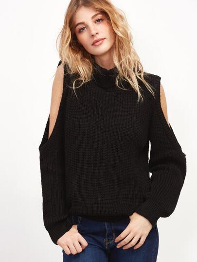 Black Turtleneck Open Shoulder Ribbed Knit Sweater