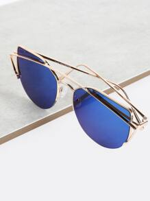 Reflective Crossbar Wayfarer Sunglasses BLUE