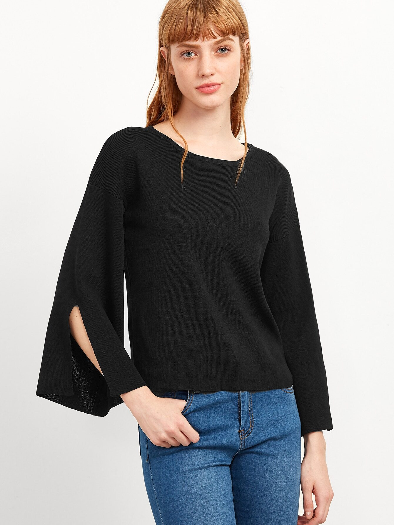 Black Split Sleeve Knitwear sweater161004104