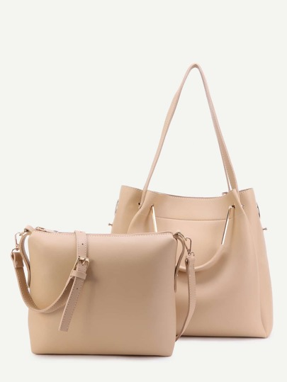 Khaki PU Convertible Shoulder Bag With Crossbody Bag