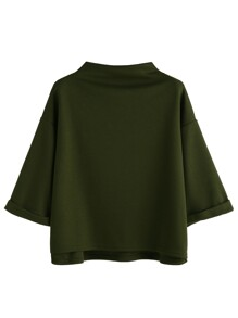 Army Green Funnel Neck Cuffed T-shirt