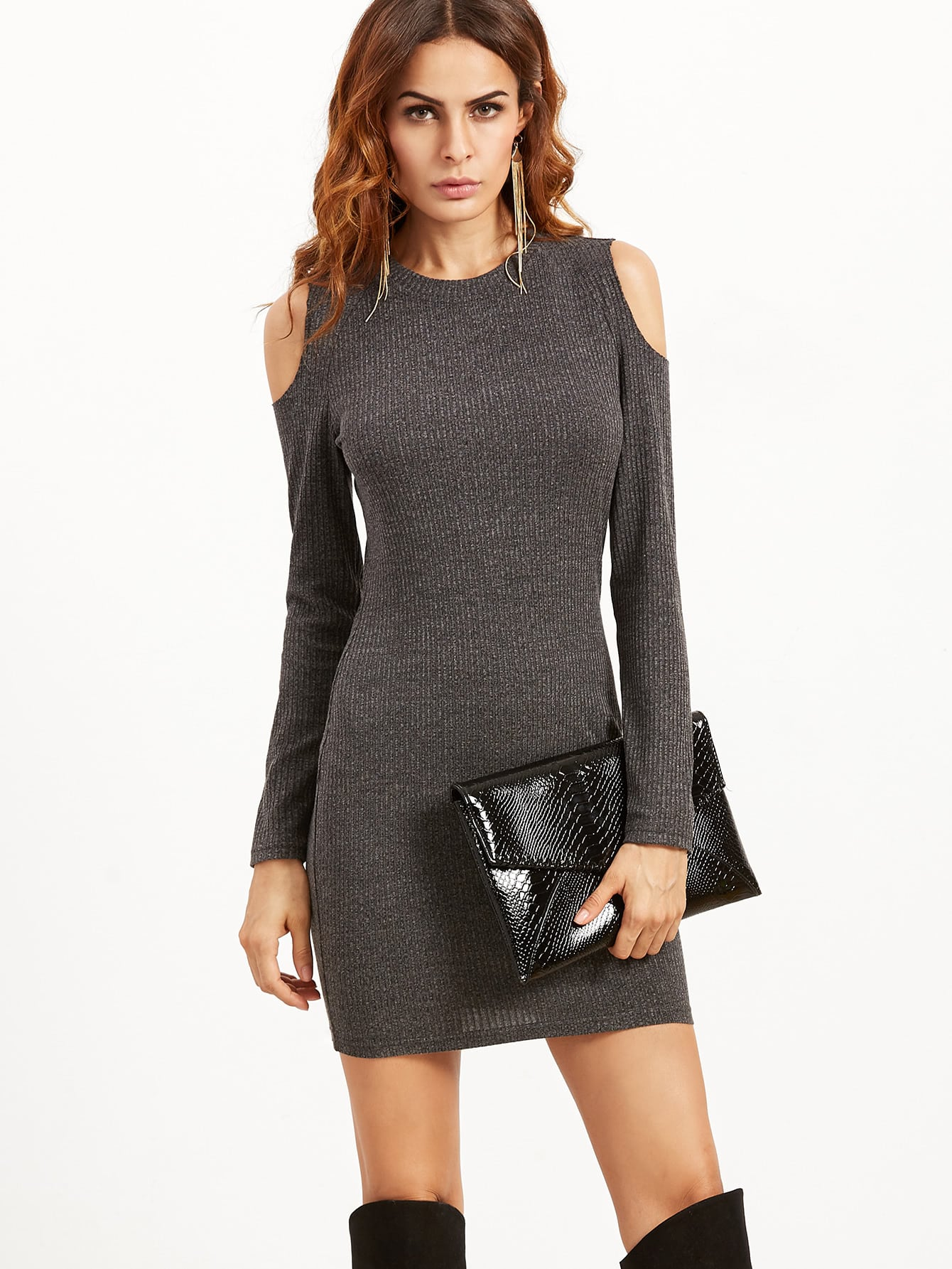 Grey Open Shoulder Ribbed Bodycon Dress dark grey ribbed trim drop shoulder lace up sweatshirt