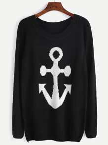 Black Anchor Print Raglan Sleeve Sweater