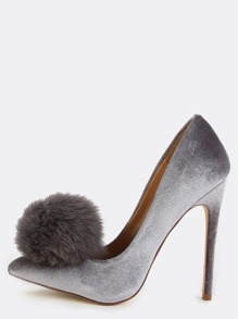 Pointed Toe Pom Pom Pumps GREY