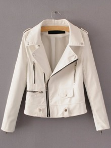 White Oblique Zipper PU Moto Jacket