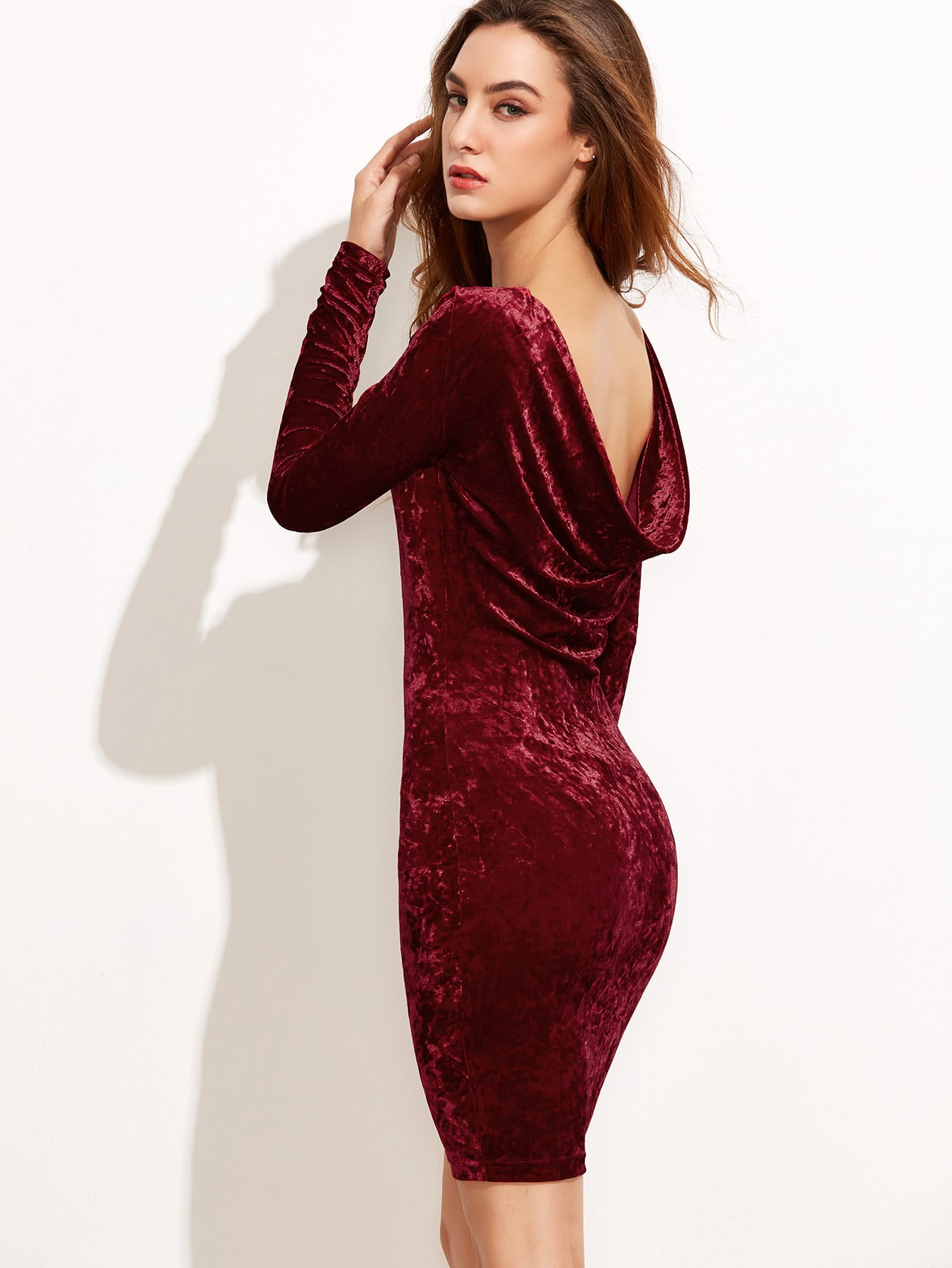 Фото Burgundy Draped Back Velvet Bodycon Dress. Купить с доставкой