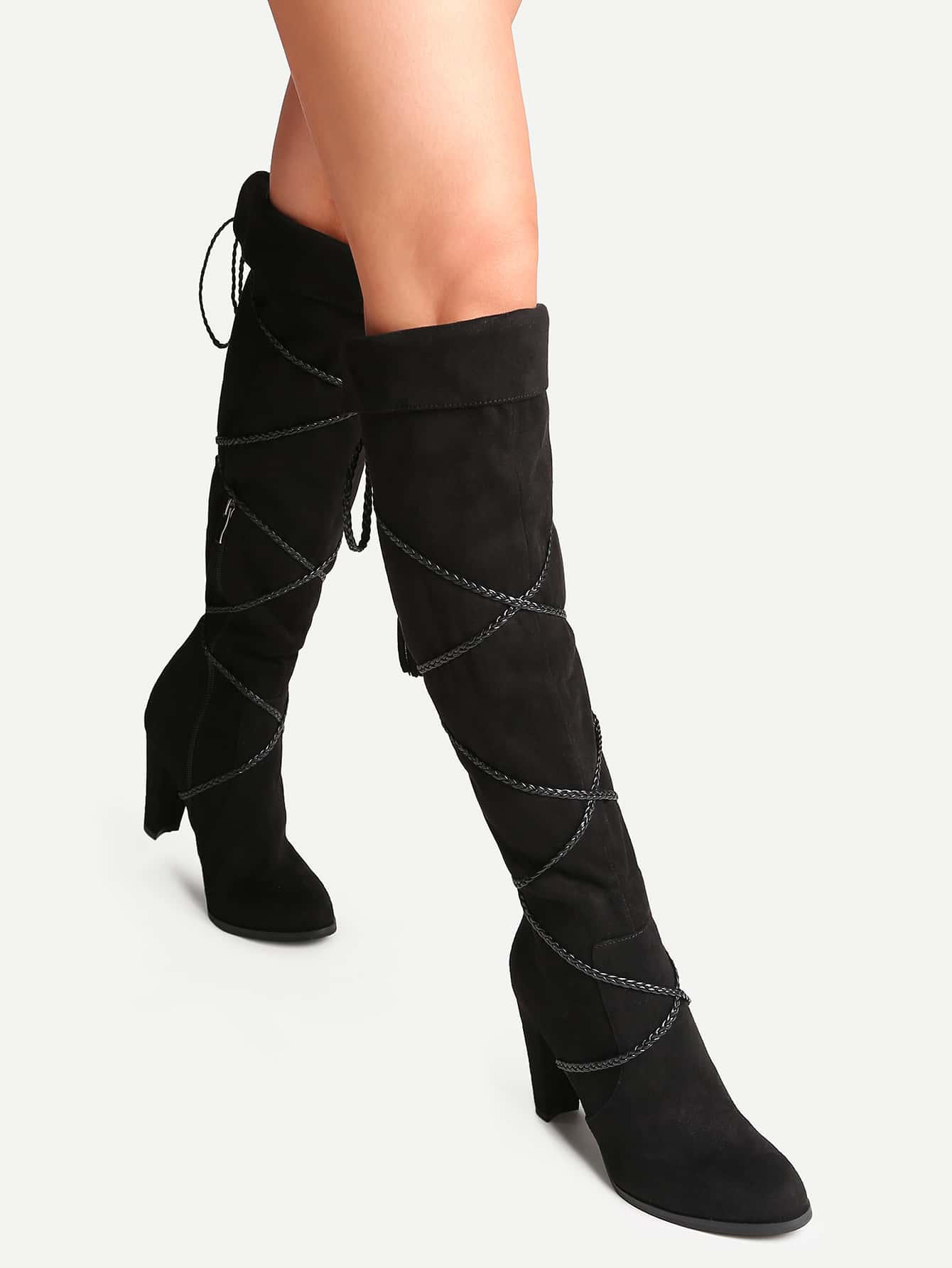 Black Point Toe Tie Back Fold Over Boots shoes16100704