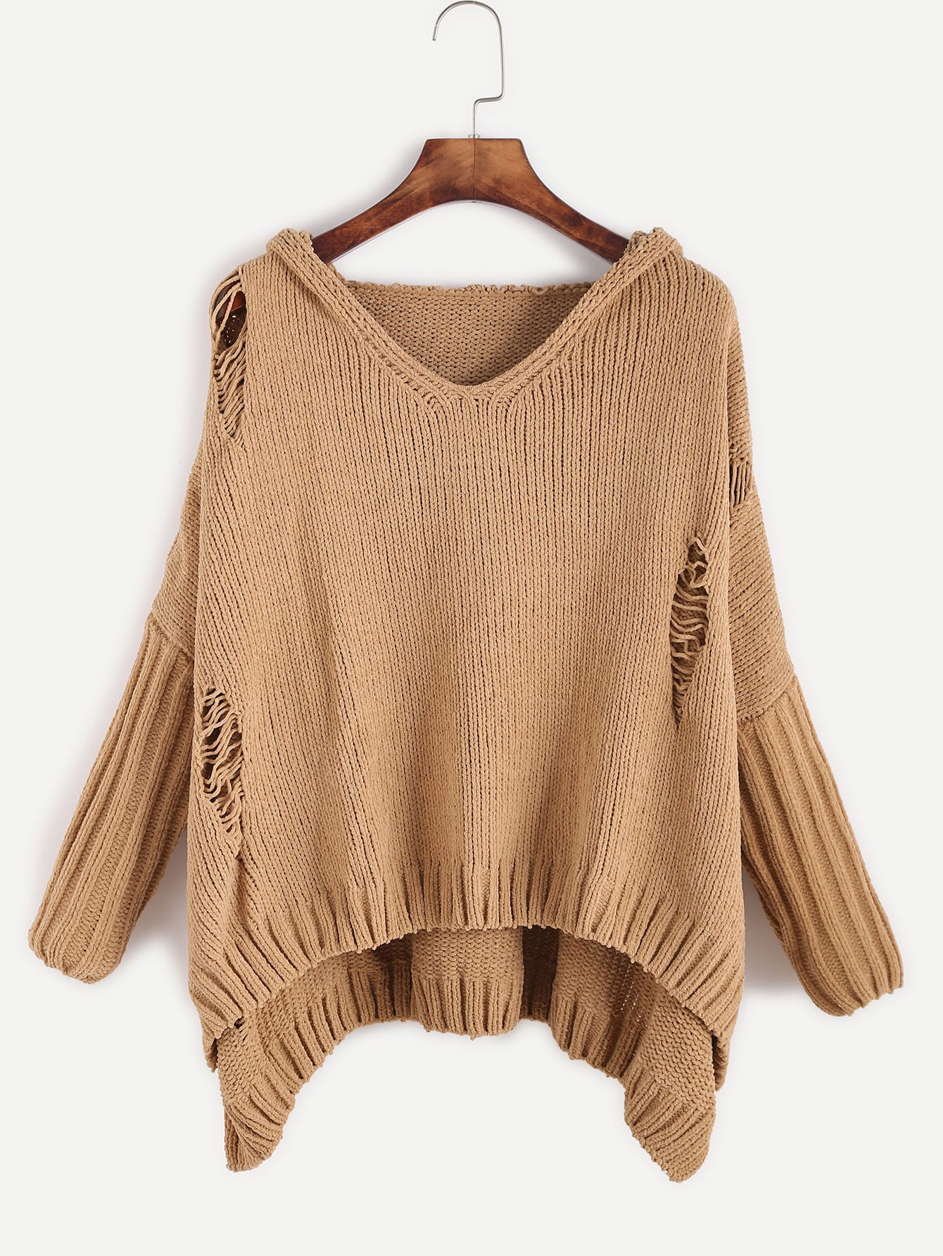 Khaki Ripped High Low Hooded SweaterKhaki Ripped High Low Hooded Sweater<br><br>color: Khaki<br>size: one-size