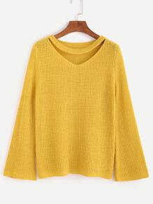 Yellow Cut Out Neck Sweater
