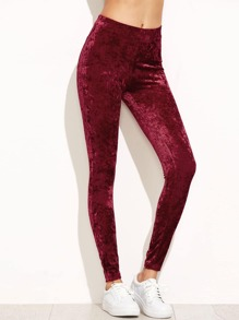 Leggings en velvet plain - bordeaux