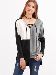 T-shirt Schnüren V-Ausschnitt vorne kurz hinten lang - bunt